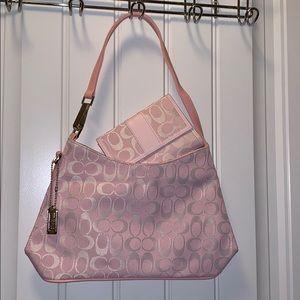 BRAND NEW Small Pink Coach Handbag w/Wallet